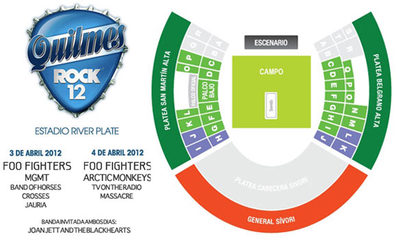 QuilmesRock2012 mapa Quilmes, rock e Foo Fighters