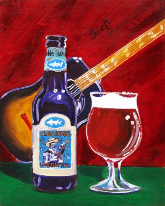 beer-painting-of-olde-school-barley-wine-by-dogfish-head-year-of-beer-paintings-scott-clendaniel-550x687