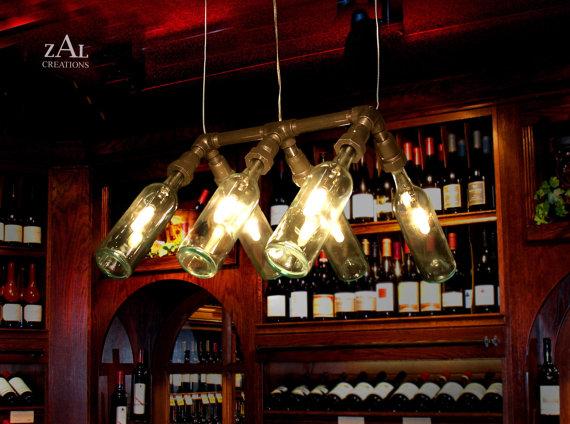 luminaria de garrafas de vinho