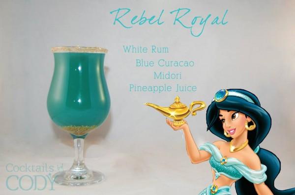 Drink Jasmine: Rum Claro + Curaçau Blue + Midori (licor verde) + Suco de Abacaxi