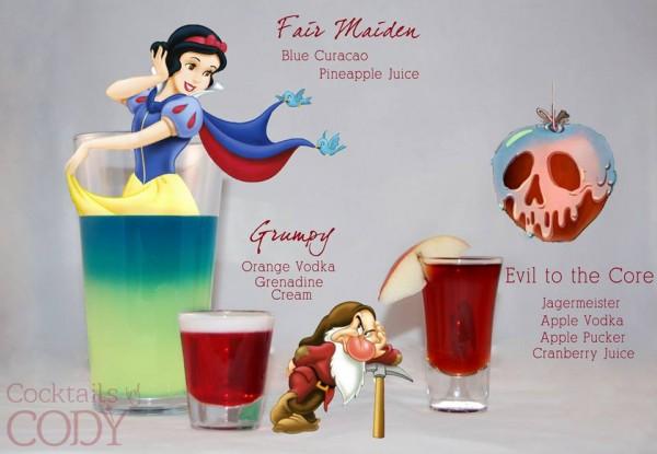 Drink Branca de Neve: Curaçau Blue + Suco de Abacaxi | Drink Zangado: Vodka Laranja (Hi-Fi) + Groselha + Creme | Drink Maçã Envenenada: Jägermeister + Vodka de Maça + Apple Pucker + Suco de Cranberry