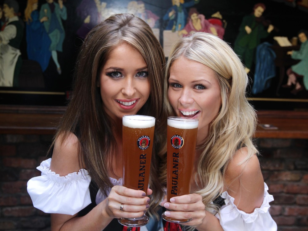 30-8-2011 REPRO FREE Blonde bombshell Karena Graham and Miss Cork Universe Anita O'Brien raised their glasses to toast the 251st Anniversary of  Paulaner Oktoberfest in true Bavarian Style. Clonakilty Blackpudding has created a bespoke frankfurter length sausage which will be available at Paulaner Oktoberfest Celebrations. Bakery Arbutus Breads, has also created a delicious bespoke Paulaner beer bread for the events.  For more information about Paulaner and Oktoberfest Beag visit www.facebook.com/paulanerireland and www.oktoberfestbeag.ie PIC: MAXWELLS NO REPRO FEE